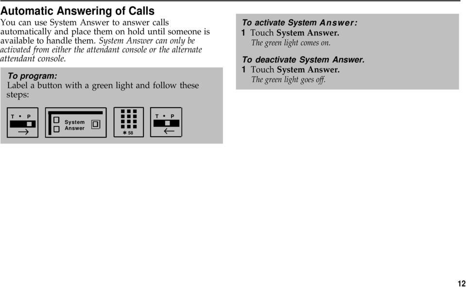 System Answer can only be activated from either the attendant console or the alternate attendant console.