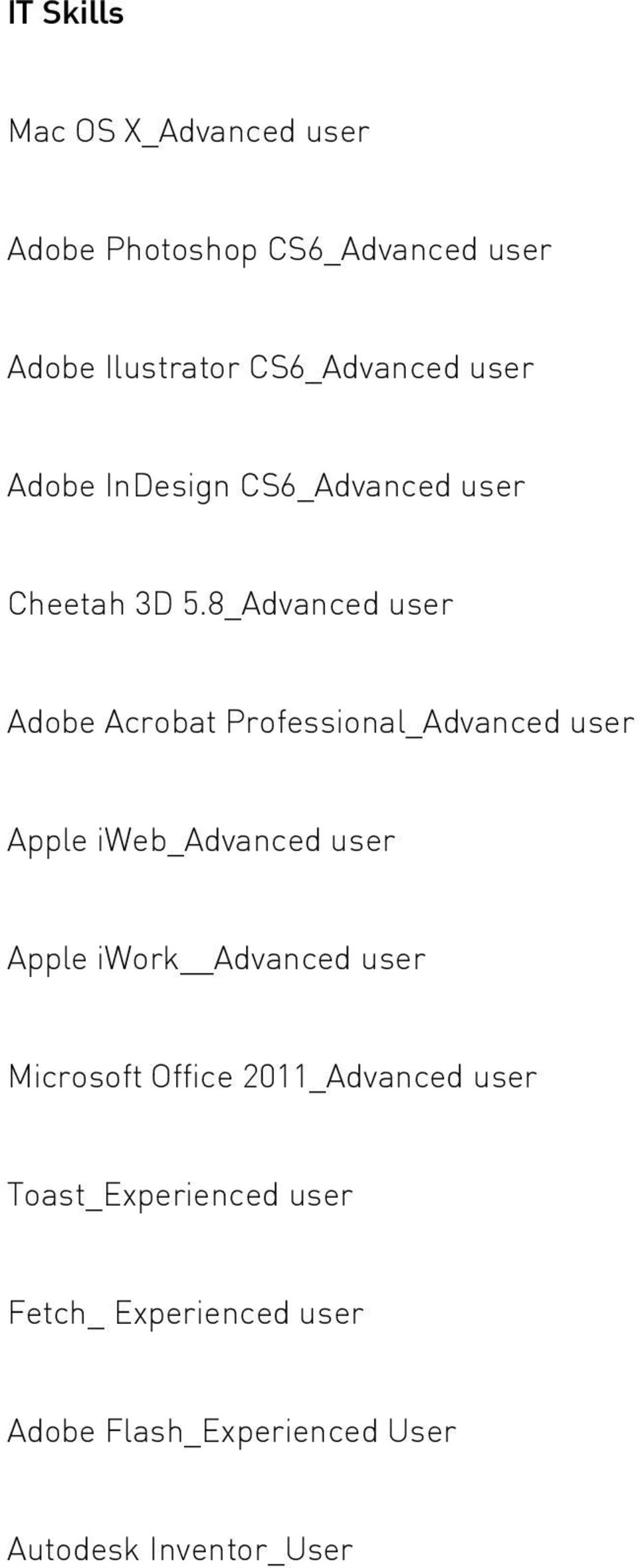 8_Advanced user Adobe Acrobat Professional_Advanced user Apple iweb_advanced user Apple iwork