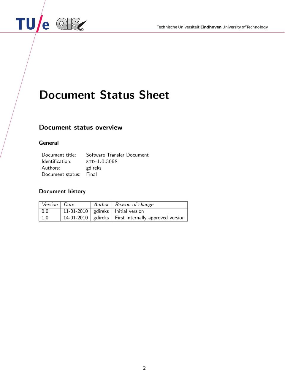 3098 gdireks Final Document history Version Date Author Reason of change 0.