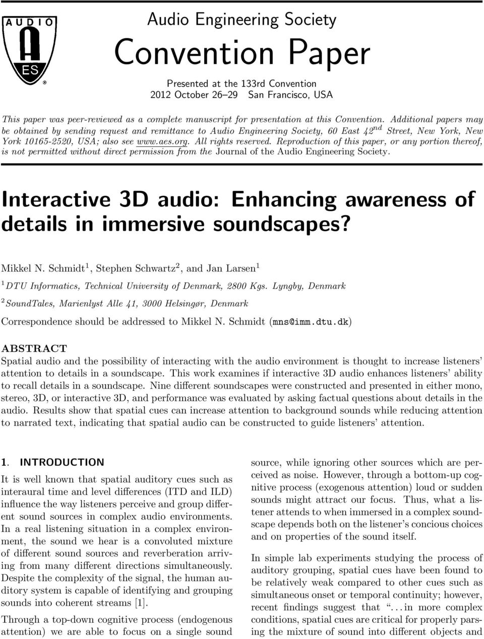 All rights reserved. Reproduction of this paper, or any portion thereof, is not permitted without direct permission from the Journal of the Audio Engineering Society.