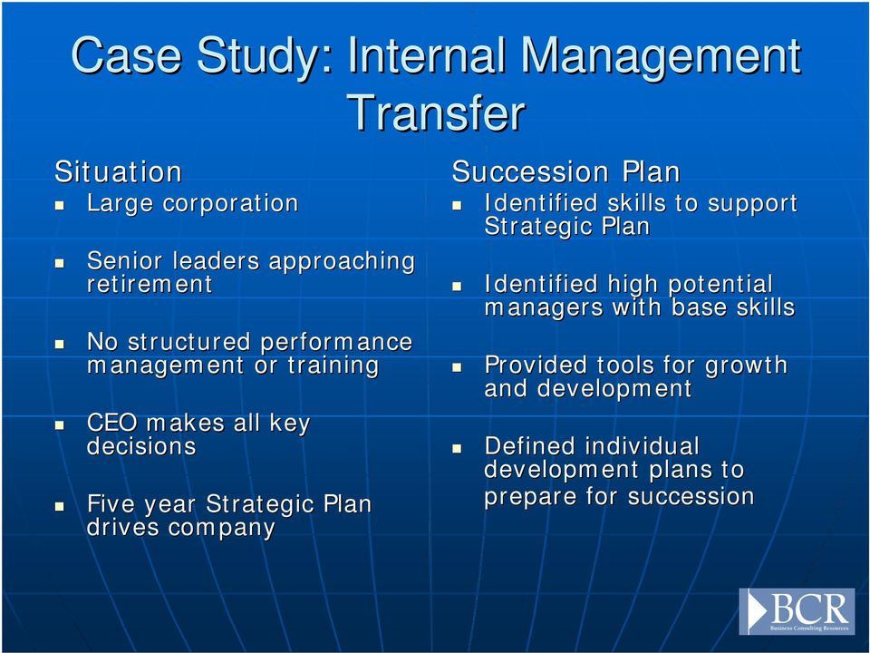 company Succession Plan Identified skills to support Strategic Plan Identified high potential managers with