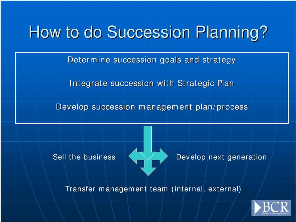with Strategic Plan Develop succession management