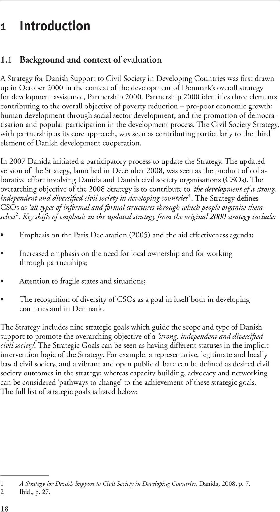 strategy for development assistance, Partnership 2000.