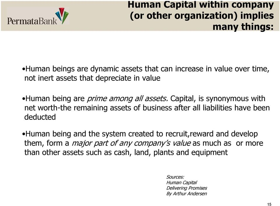 Capital, is synonymous with net worth-the remaining assets of business after all liabilities have been deducted Human being and the system created