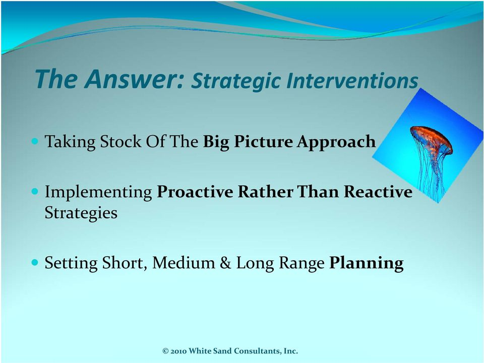 Implementing Proactive Rather Than Reactive