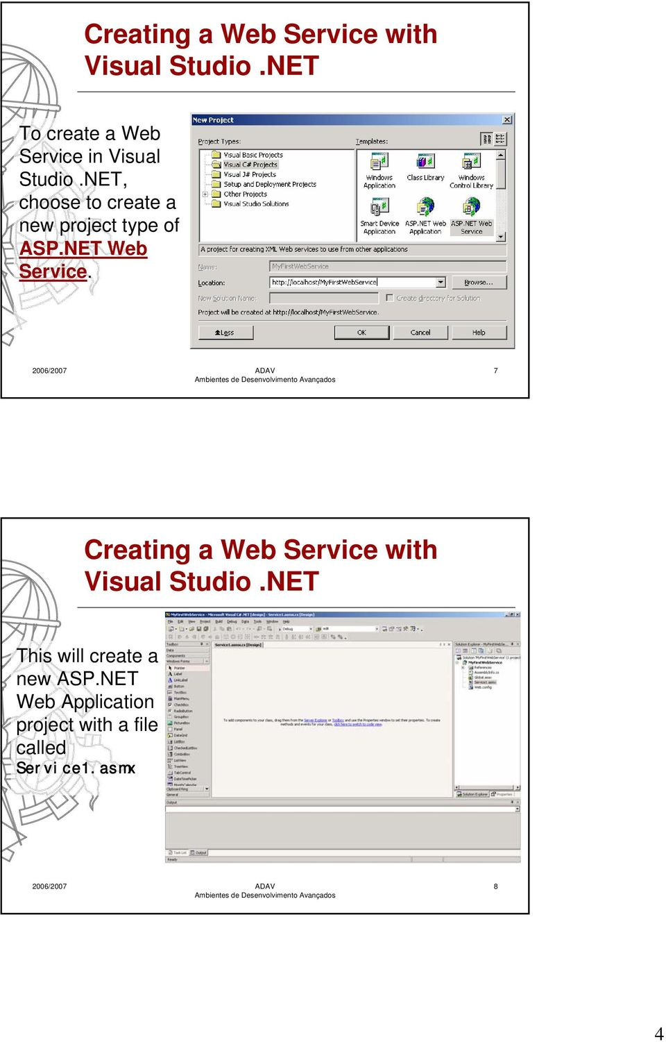 NET, choose to create a new project type of ASP.NET Web Service.