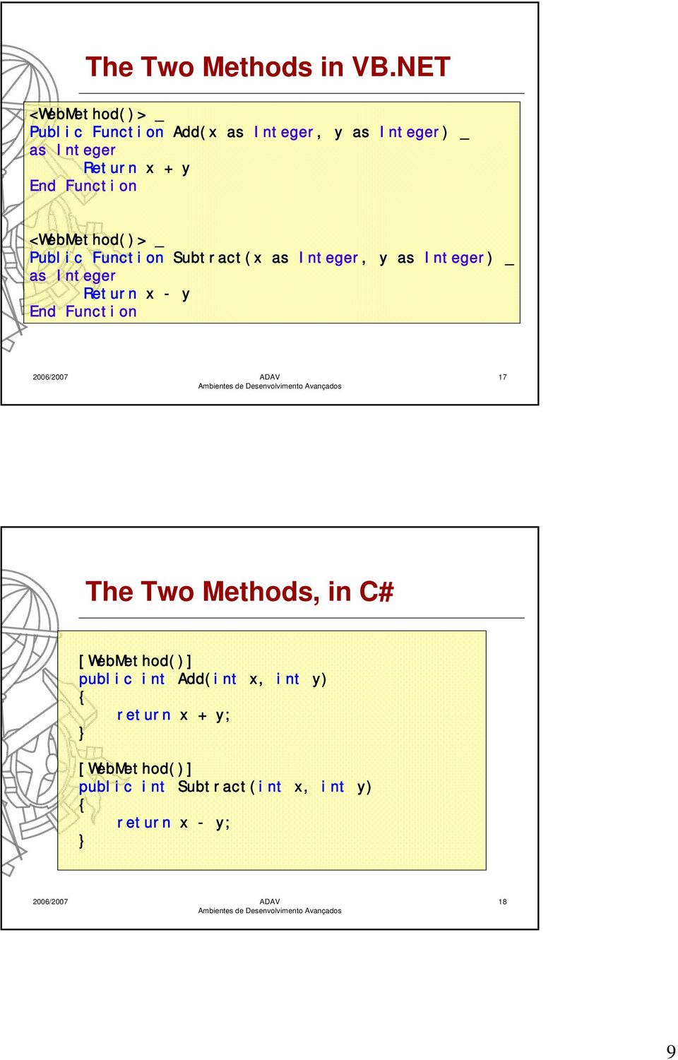 Function <WebMethod()> _ Public Function Subtract(x as Integer, y as Integer) _ as Integer Return