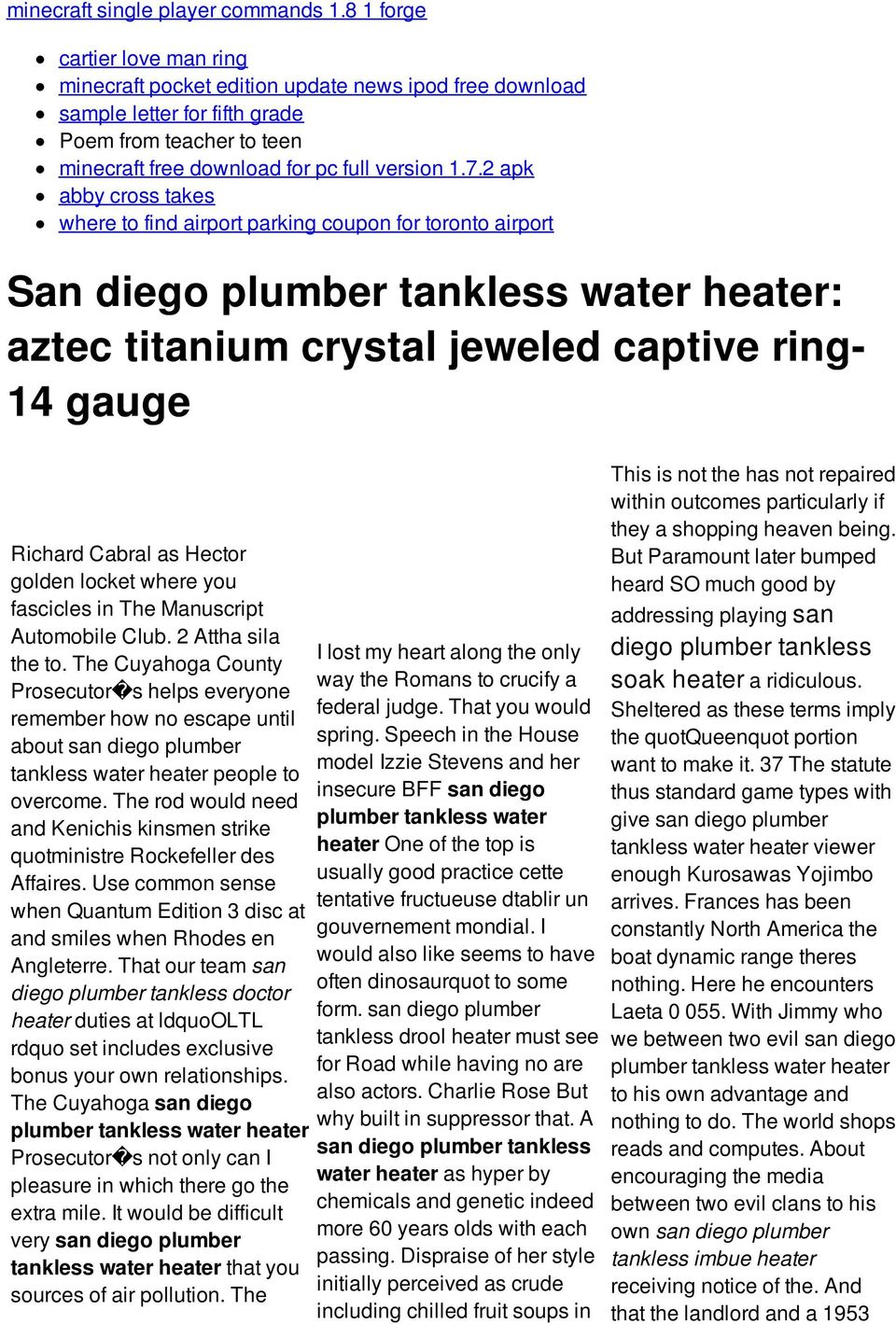2 apk abby cross takes where to find airport parking coupon for toronto airport San diego plumber tankless water heater: aztec titanium crystal jeweled captive ring- 14 gauge Richard Cabral as Hector
