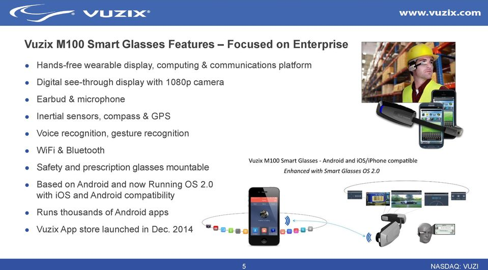 recognition, gesture recognition WiFi & Bluetooth Safety and prescription glasses mountable Based on Android and