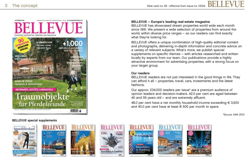 BELLEVUE offers a unique combination of high-quality editorial content and photographs, delivering in-depth information and concrete advice on a variety of relevant subjects.
