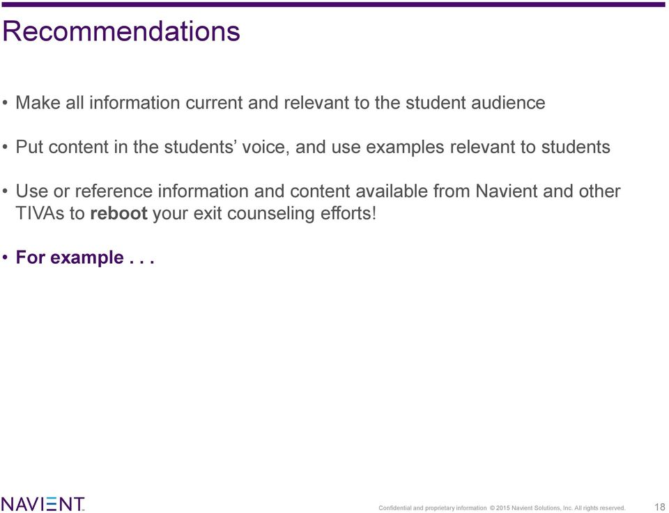 content available from Navient and other TIVAs to reboot your exit counseling efforts!