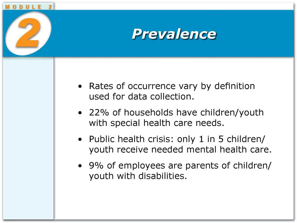 22% of households have children/youth with special health care needs.