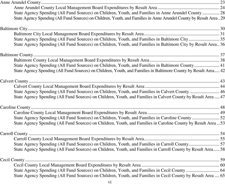 .. 30 Baltimore City Local Management Board Expenditures by Result Area... 31 State Agency Spending (All Fund Sources) on Children, Youth, and Families in Baltimore City.