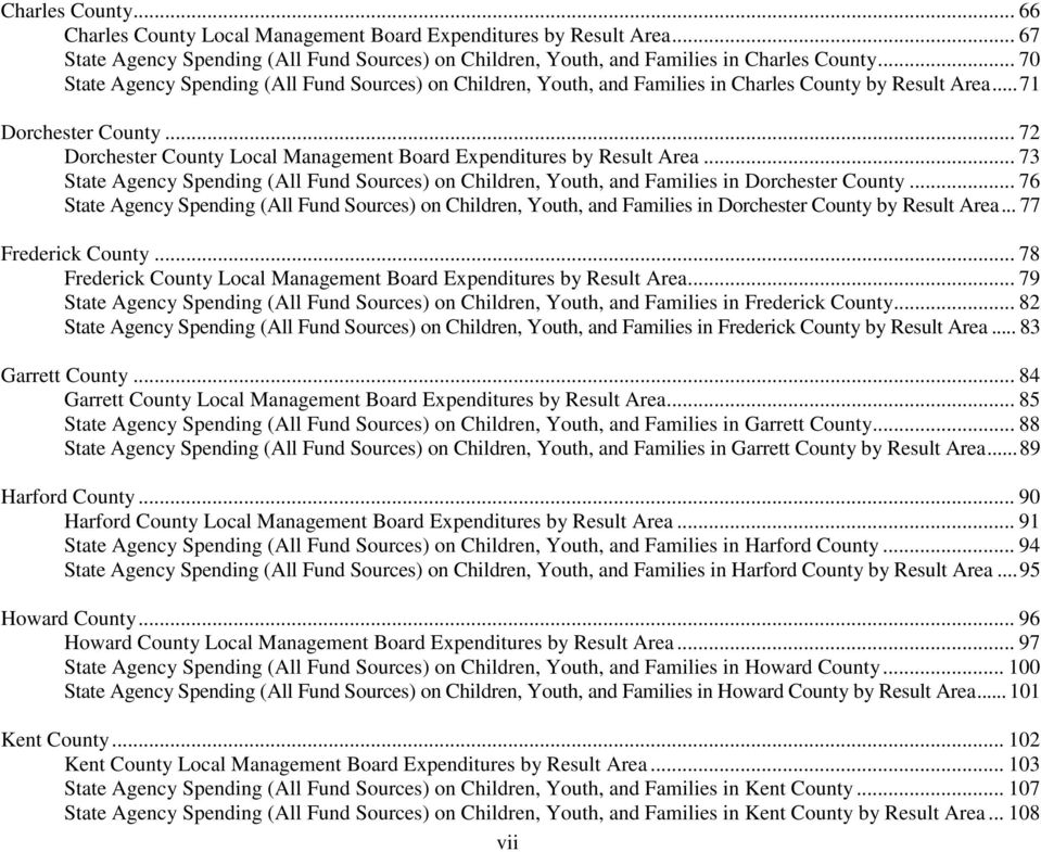 .. 72 Dorchester County Local Management Board Expenditures by Result Area... 73 State Agency Spending (All Fund Sources) on Children, Youth, and Families in Dorchester County.