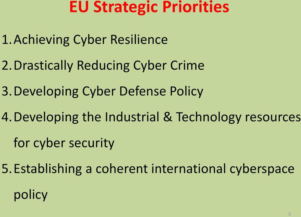 Developing Cyber Defense Policy 4.