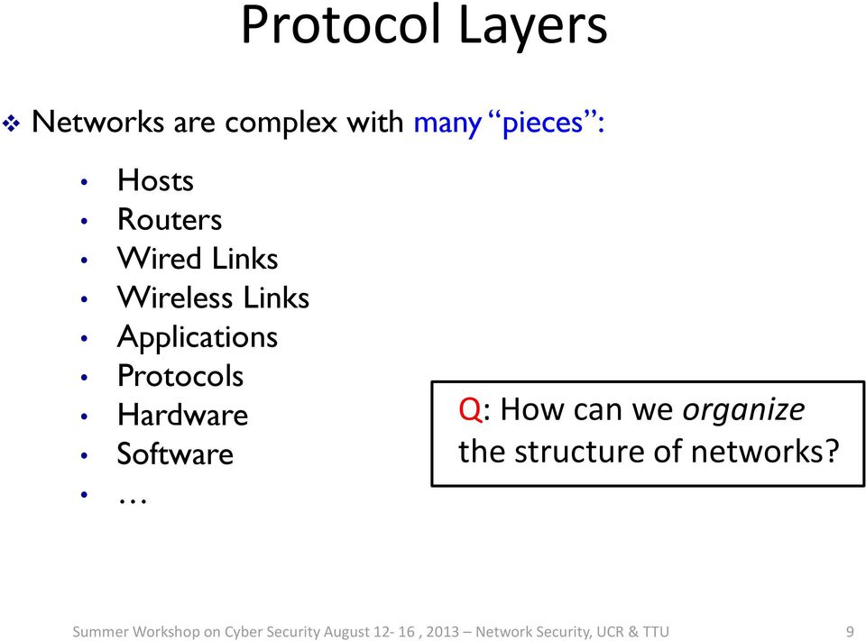 Q: How can we organize the structure of networks?