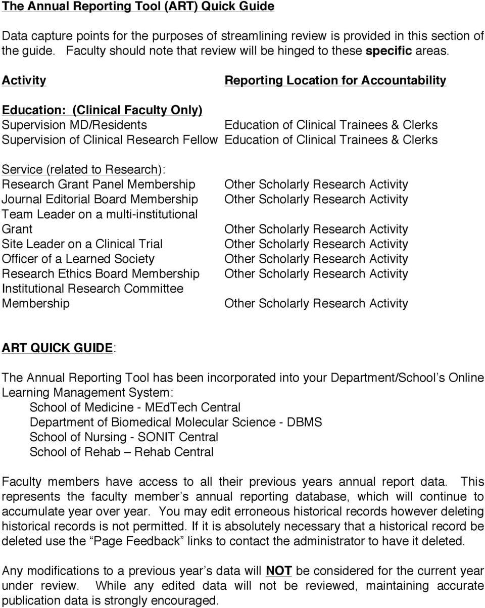 Activity Reporting Location for Accountability Education: (Clinical Faculty Only) Supervision MD/Residents Education of Clinical Trainees & Clerks Supervision of Clinical Research Fellow Education of