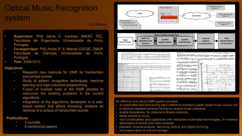 Fusion of musical rules in the OMR process to overcome the existing problems in the current algorithms.