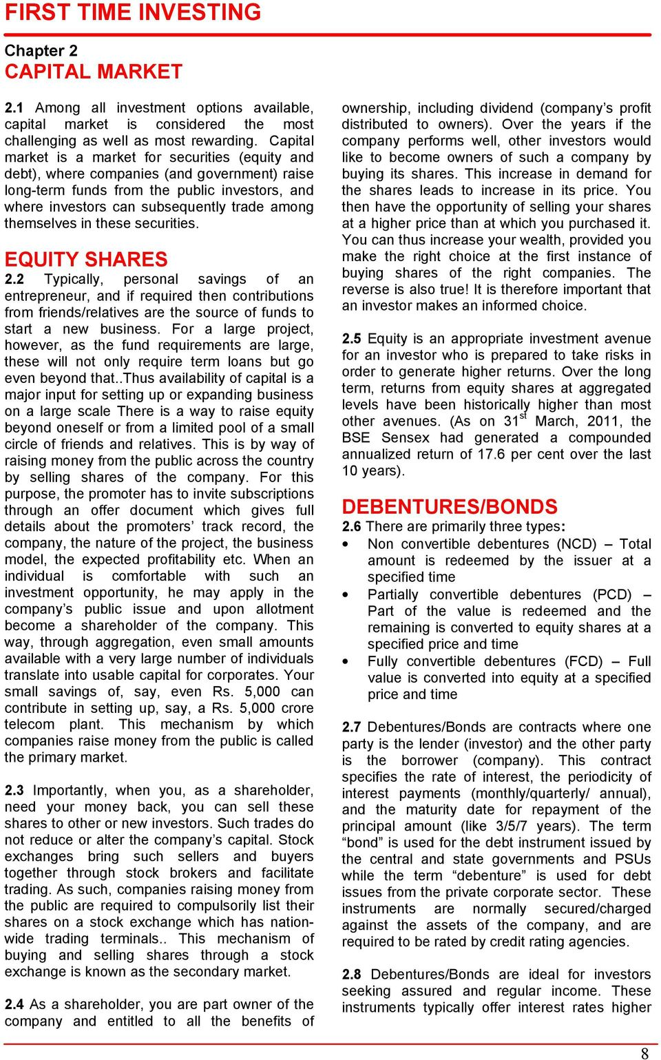themselves in these securities. EQUITY SHARES 2.
