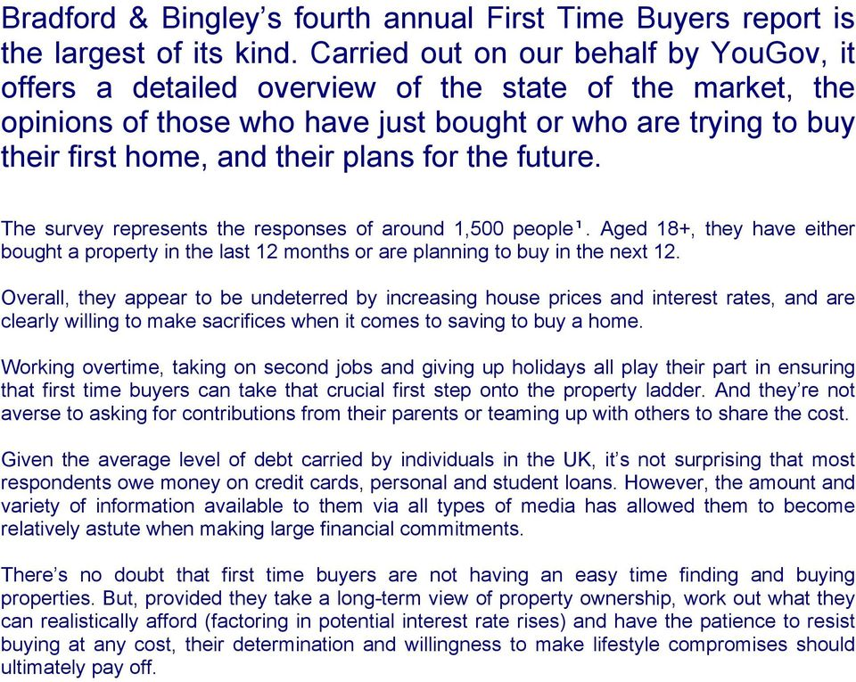 for the future. The survey represents the responses of around 1,00 people¹. Aged 18+, they have either bought a property in the last 12 months or are planning to buy in the next 12.