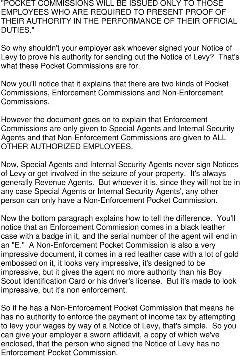 Now you'll notice that it explains that there are two kinds of Pocket Commissions, Enforcement Commissions and Non-Enforcement Commissions.