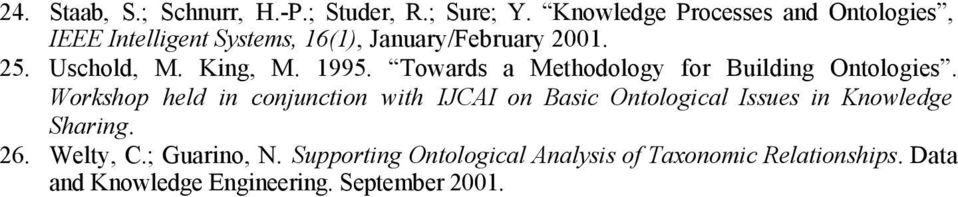 King, M. 1995. Towards a Methodology for Building Ontologies.