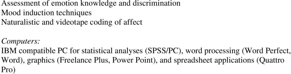 statistical analyses (SPSS/PC), word processing (Word Perfect, Word),