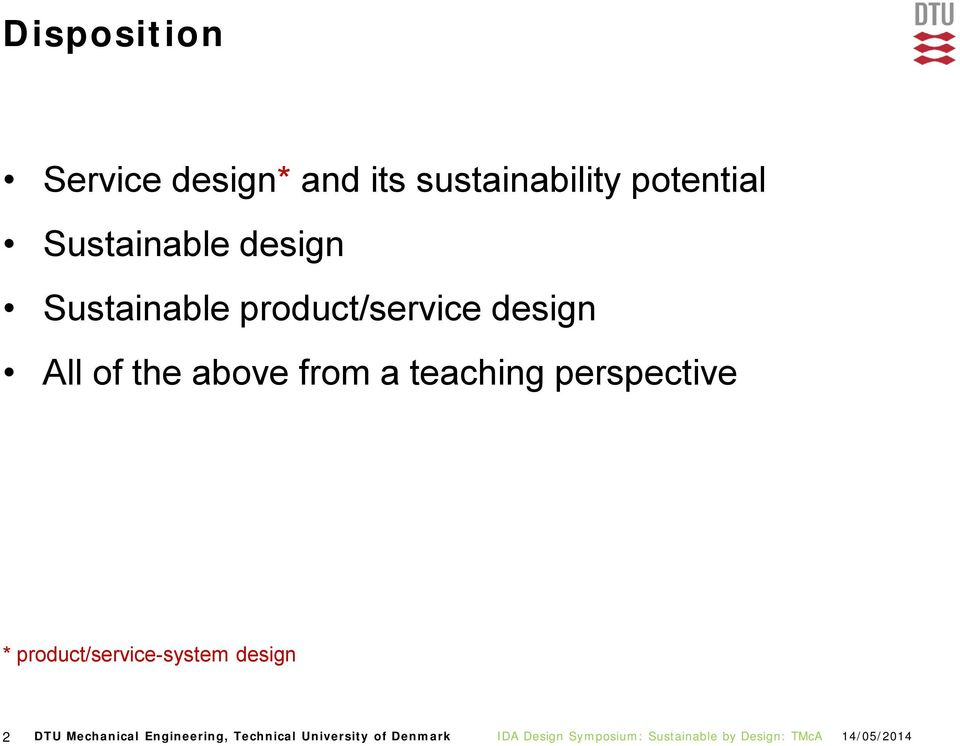 the above from a teaching perspective * product/service-system
