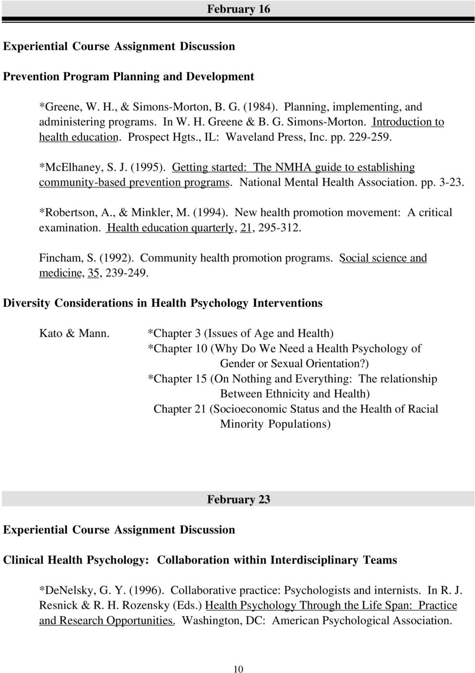 Getting started: The NMHA guide to establishing community-based prevention programs. National Mental Health Association. pp. 3-23. *Robertson, A., & Minkler, M. (1994).
