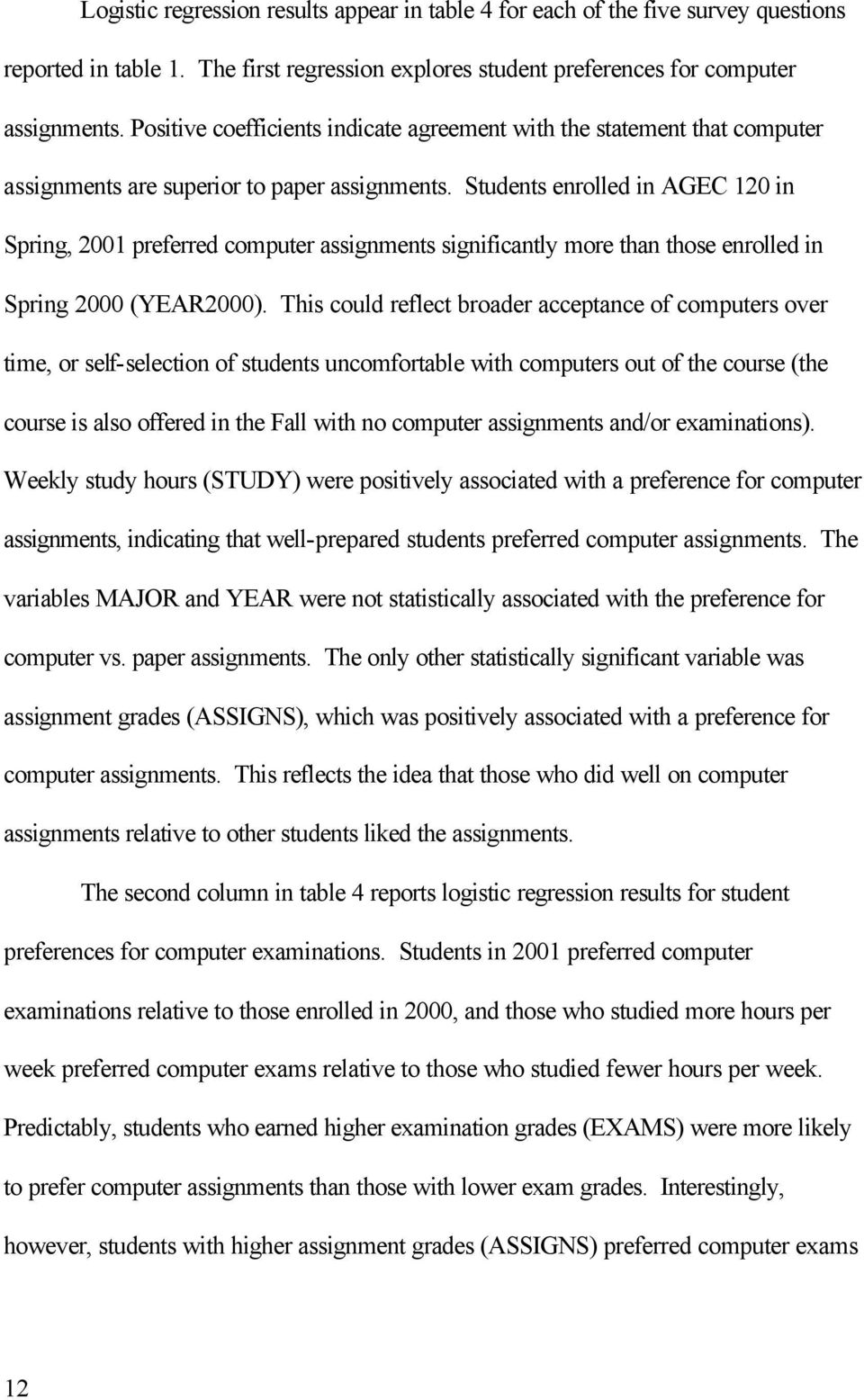 Students enrolled in AGEC 120 in Spring, 2001 preferred computer assignments significantly more than those enrolled in Spring 2000 (YEAR2000).