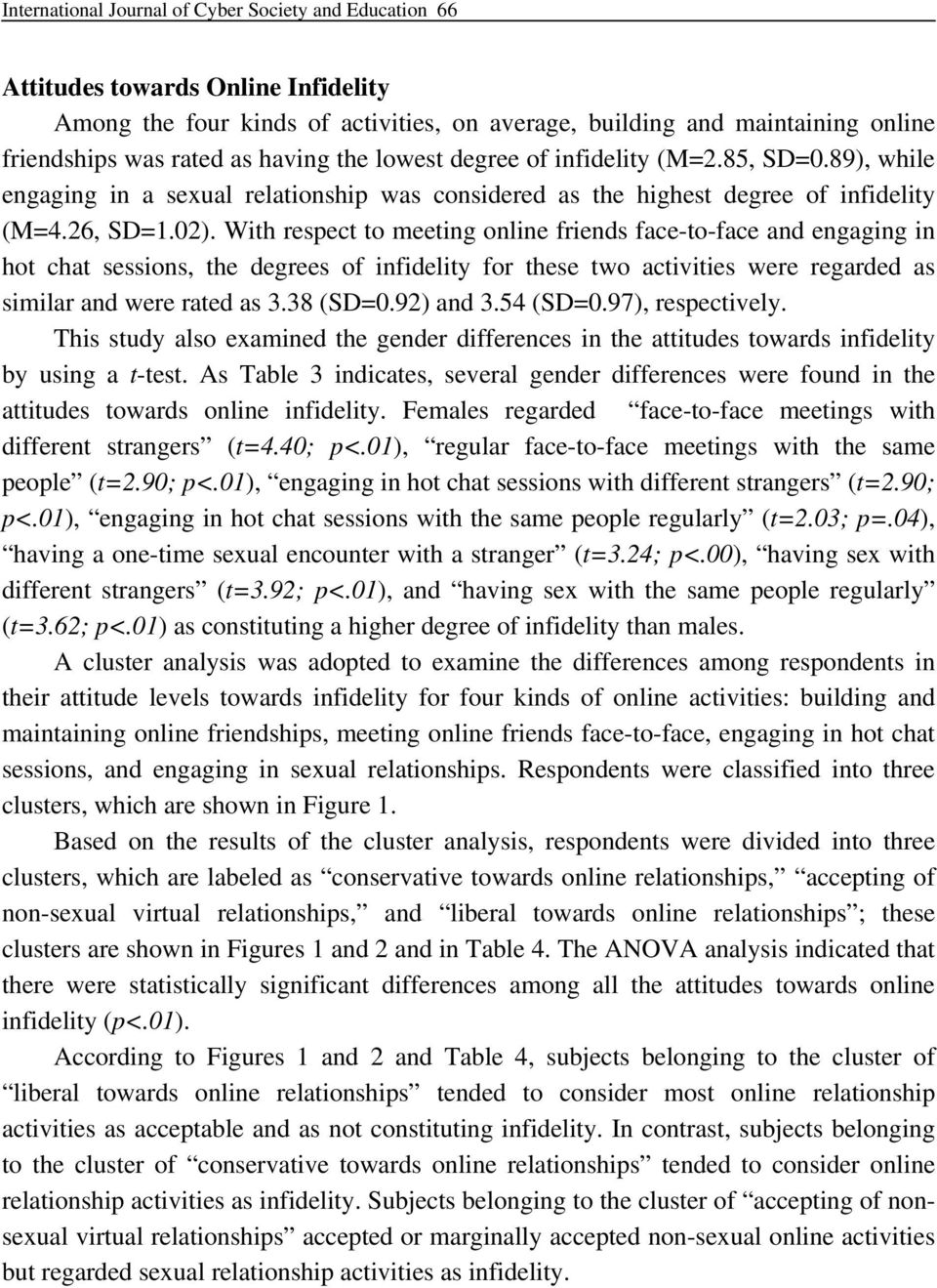 With respect to meeting online friends face-to-face and engaging in hot chat sessions, the degrees of infidelity for these two activities were regarded as similar and were rated as 3.38 (SD=0.