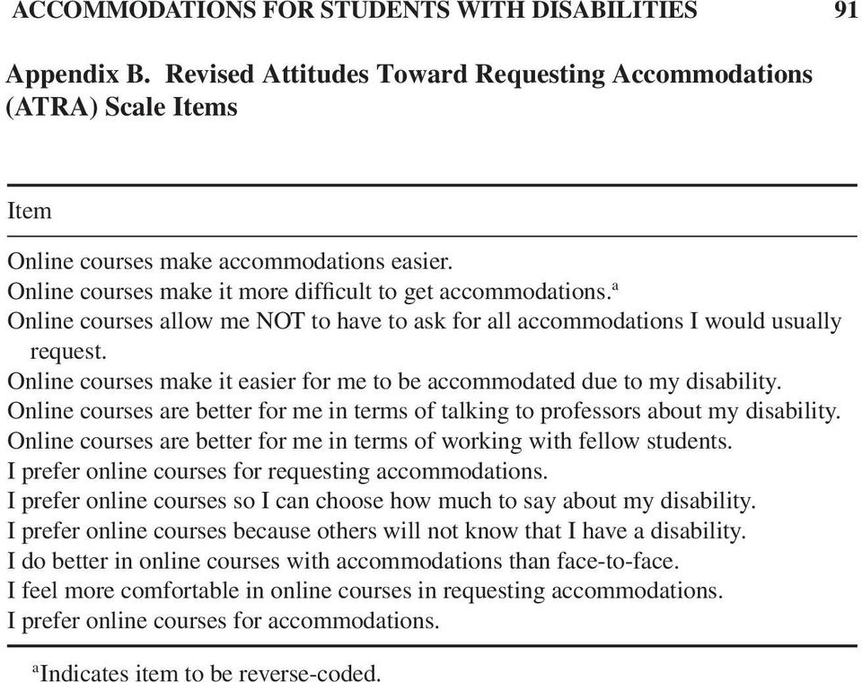Online courses make it easier for me to be accommodated due to my disability. Online courses are better for me in terms of talking to professors about my disability.