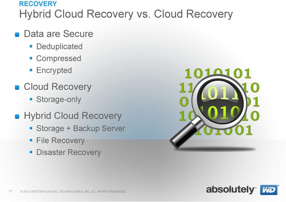 Compressed Encrypted Cloud Recovery Storage-only