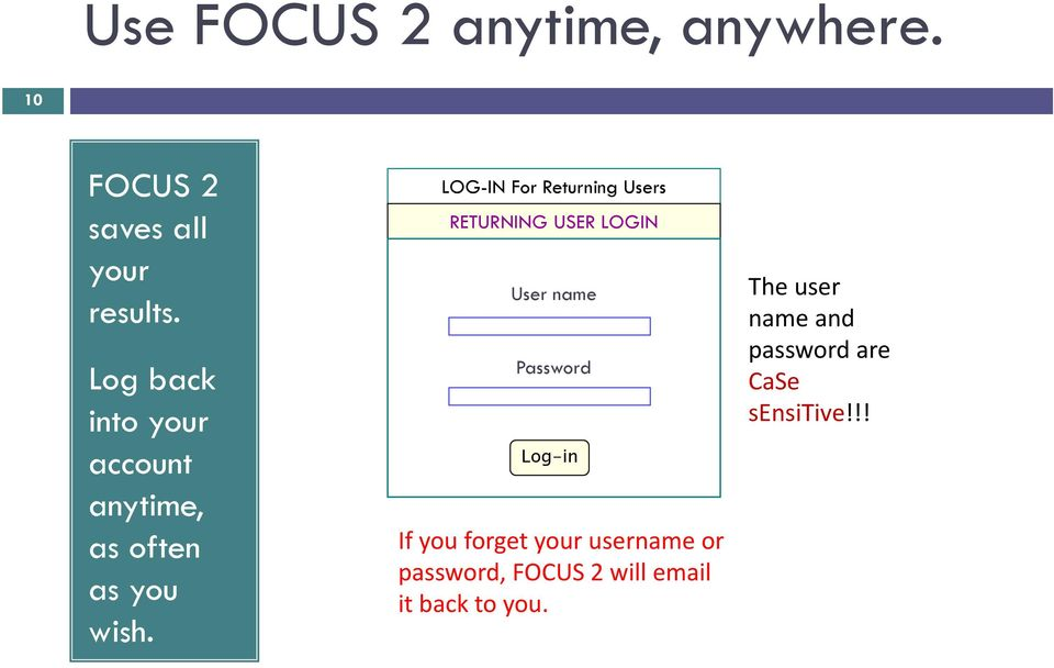 LOG-IN For Returning Users RETURNING USER LOGIN User name Password Log-in If you