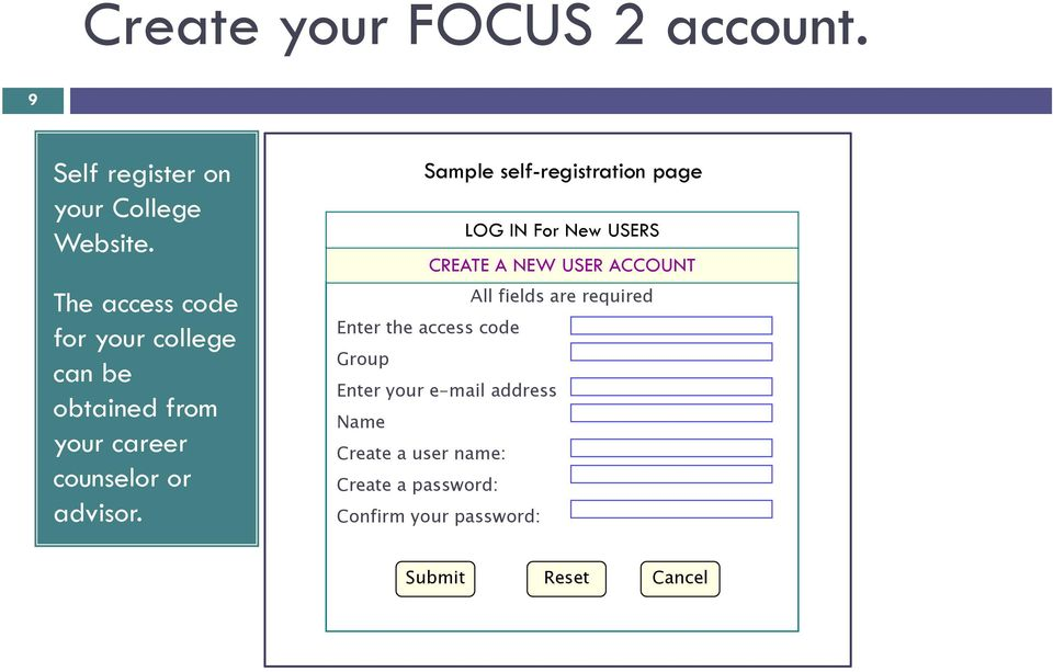Sample self-registration page LOG IN For New USERS CREATE A NEW USER ACCOUNT All fields are