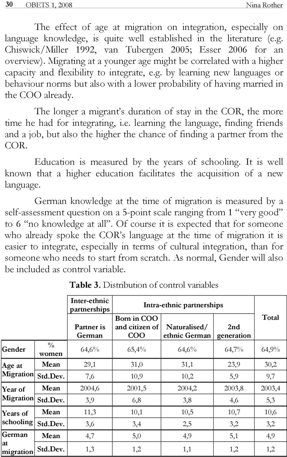 The longer a migrant s duration of stay in the COR, the more time he had for integrating, i.e. learning the language, finding friends and a job, but also the higher the chance of finding a partner from the COR.