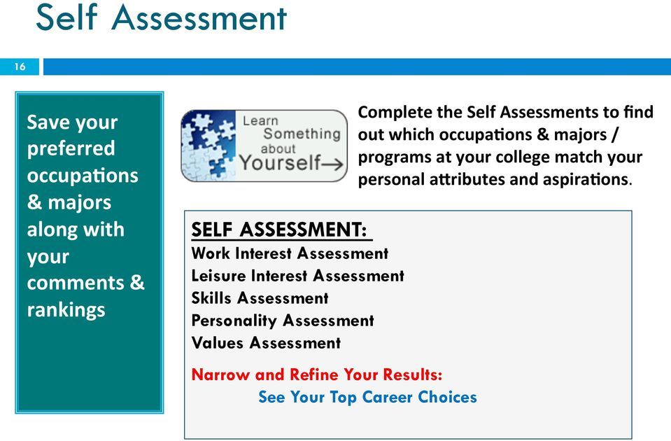 Values Assessment Narrow and Refine Your Results: See Your Top Career Choices Complete the Self
