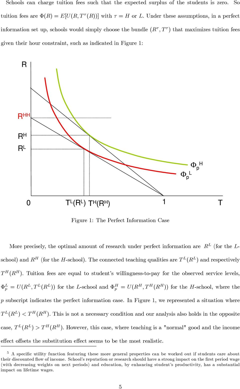 HH R H R L Φ H p Φ L p 0 T L (R L ) T H (R H ) 1 T Figure 1: The Perfect Information Case More precisely, the optimal amount of research under perfect information are R L (for the L- school) and R H