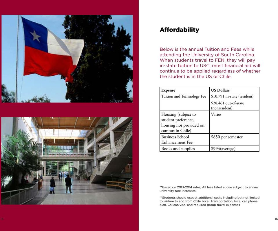 Expense Tuition and Technology Fee Housing (subject to student preference, housing not provided on campus in Chile).