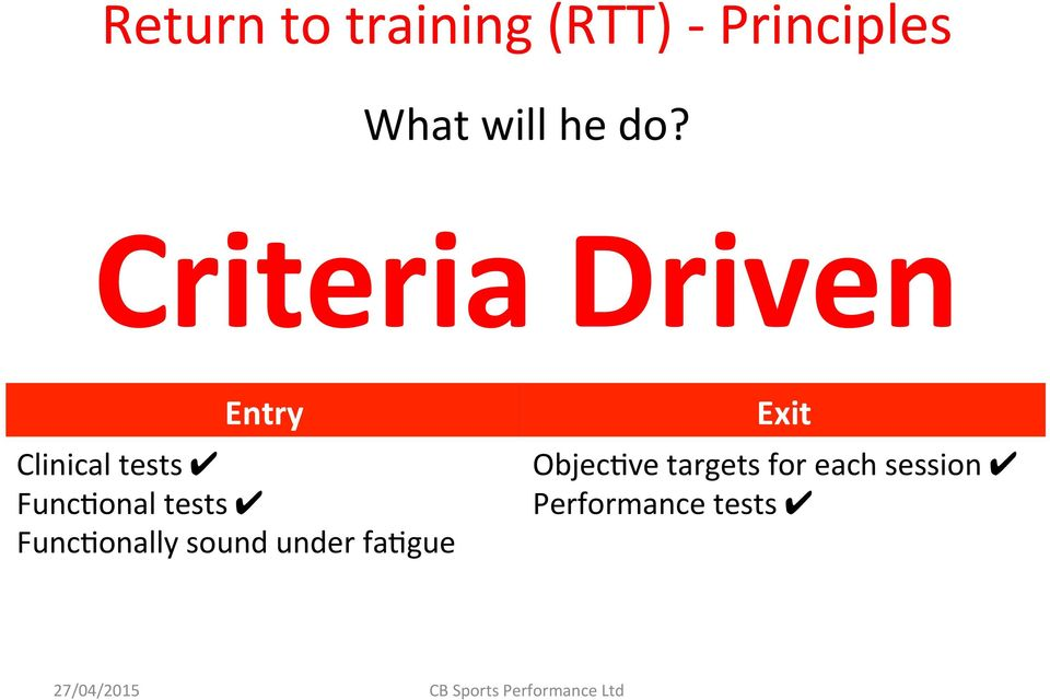 Criteria Driven Entry Clinical tests FuncIonal