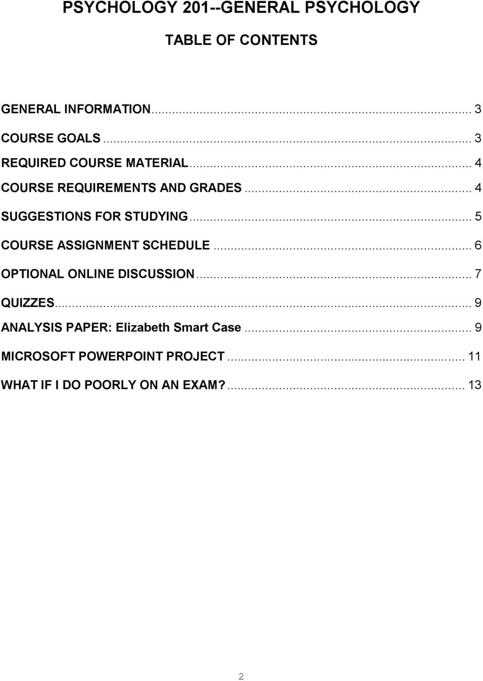 .. 5 COURSE ASSIGNMENT SCHEDULE... 6 OPTIONAL ONLINE DISCUSSION... 7 QUIZZES.