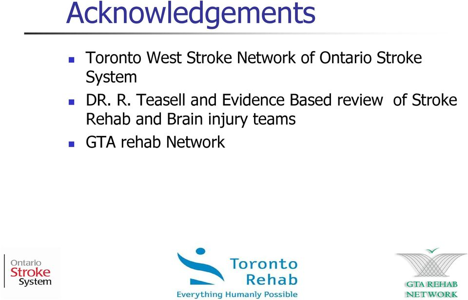 Teasell and Evidence Based review of