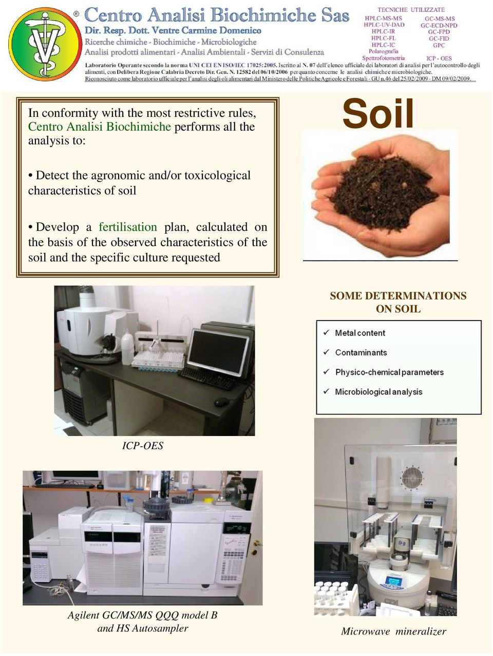 calculated on the basis of the observed characteristics of the soil and the specific culture requested