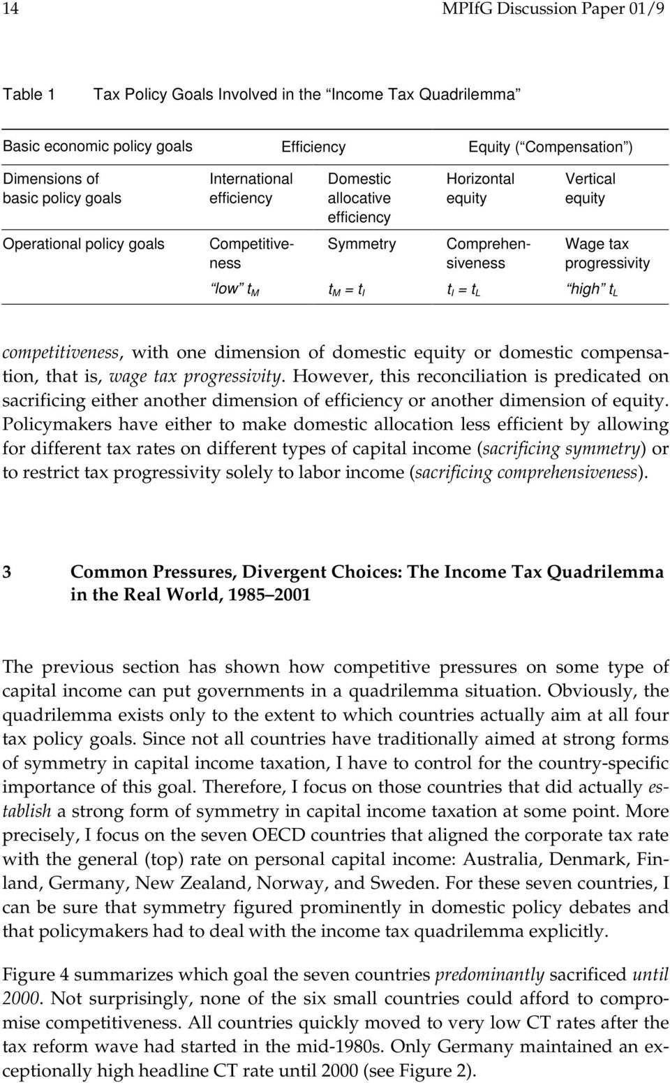 high t L t M = t I competitiveness, with one dimension of domestic equity or domestic compensation, that is, wage tax progressivity.