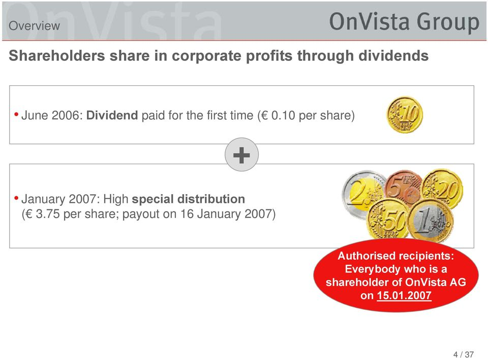 10 per share) + January 2007: High special distribution ( 3.