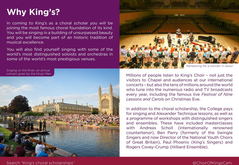 You will also find yourself singing with some of the world s most distinguished soloists and orchestras in some of the world s most prestigious venues.