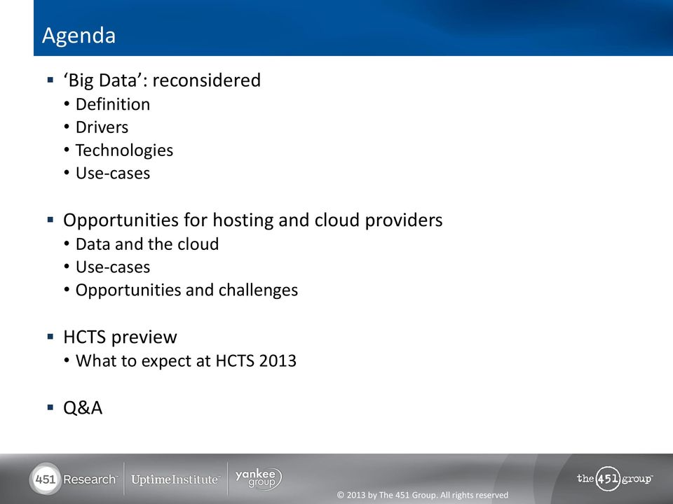 cloud providers Data and the cloud Use-cases
