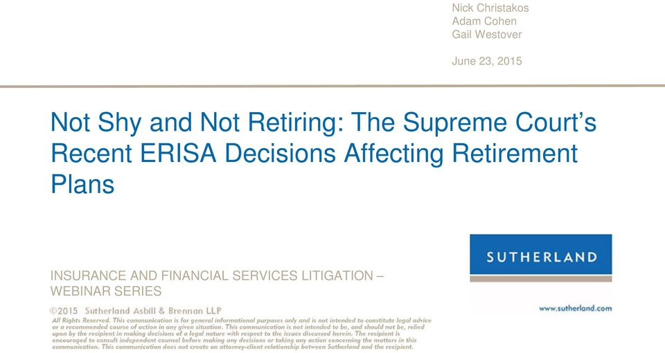 Recent ERISA Decisions Affecting Retirement Plans