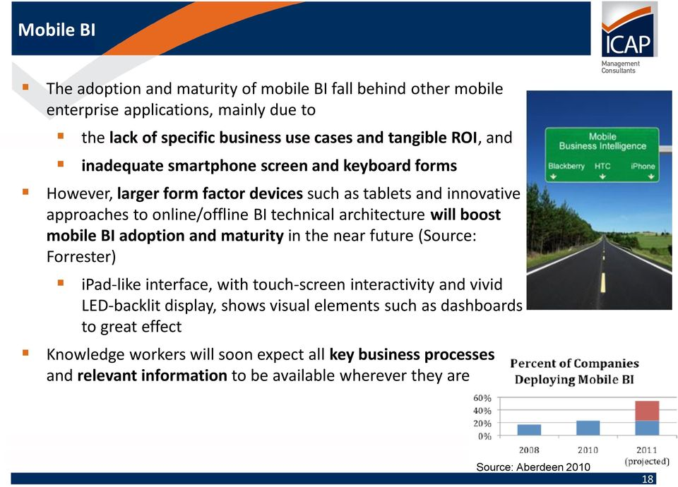 boost mobile BI adoption and maturity in the near future (Source: Forrester) ipad-like interface, with touch-screen interactivity and vivid LED-backlit display, shows visual