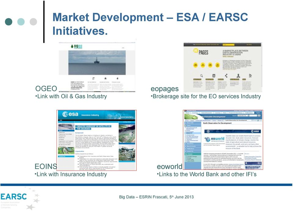site for the EO services Industry EOINS Link with